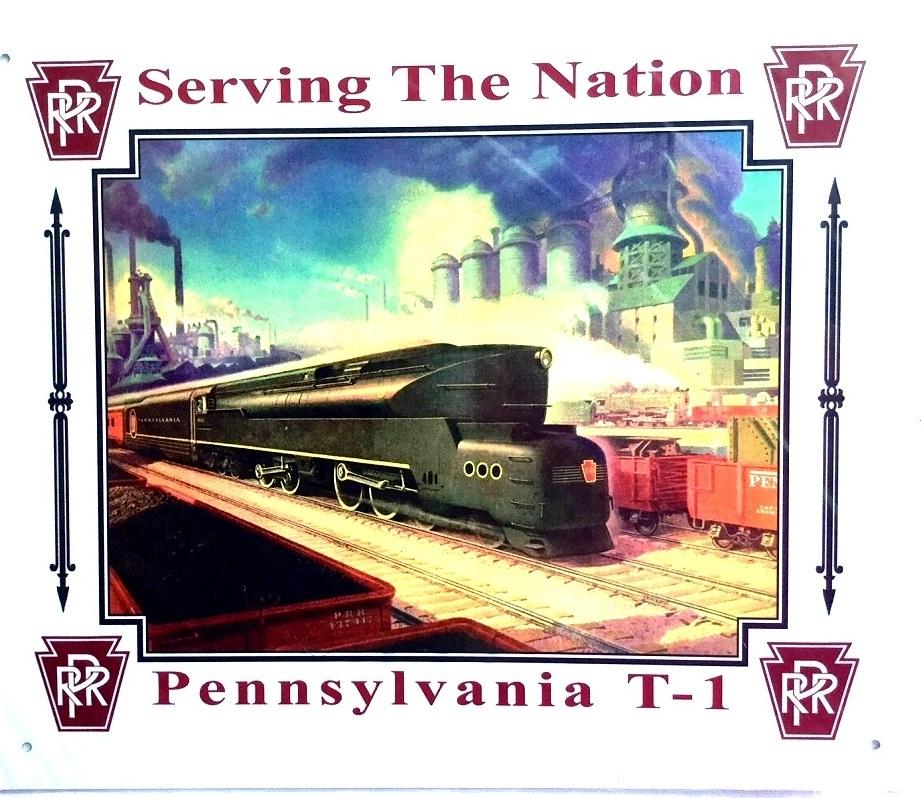 Pennsylvania Railroad T-1 PRR Railroad Tin Sign