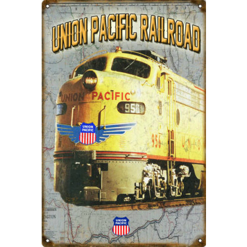 Union Pacific Railroad Steel Sign -Rustic Vintage Style 12X18